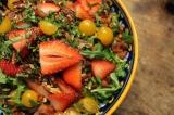 Paleo Arugula Salad with Strawberries, Pecans, Bacon and Meyer LemonVinaigrette